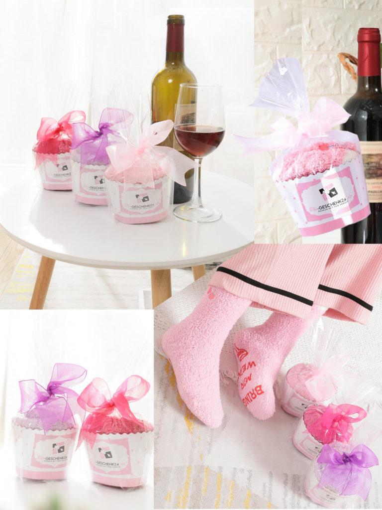 Weihnachtsgeschenk für Frauen Damen Wein Socken lila pink rosa