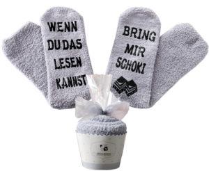 Graue Schoki-Socken